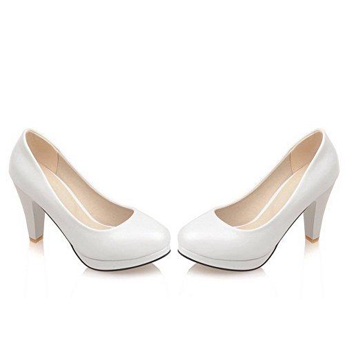 VogueZone009 Femme Pu Cuir Couleur Unie Tire Rond à Talon Haut Chaussures Légeres Blanc