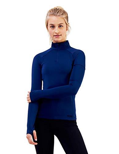 TCA Competitor Half Zip Damen Laufshirt mit Kragen - Langarm - Blau, S -