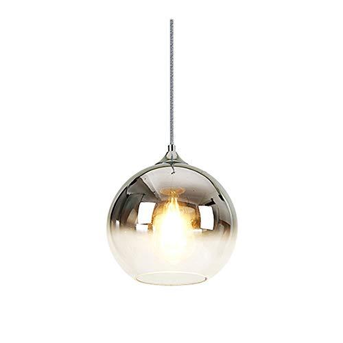 MZStech Sphärische Gradient Color Glass Pendelleuchte, moderne Glas Lampe basierend auf E27 Glühbirnen (Silber, 30CM)