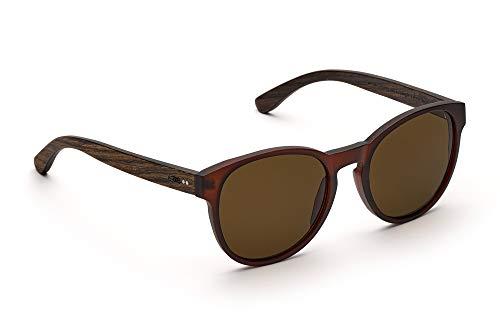 TAKE A SHOT - Große runde Holz-Sonnenbrille Damen, Holz-Bügeln und Kunststoff-Rahmen, UV400 Schutz, rückentspiegelte Gläser - Gryphon