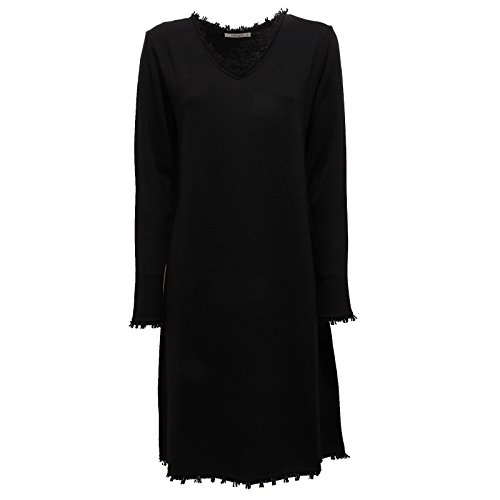 9317U vestito donna KANGRA abito lana merinos wool black dress woman Nero