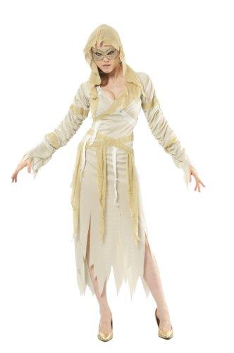 Sexy Mumie Kostüm - Generique - Mumien-Damenkostüm für Halloween Weiss-gelb S
