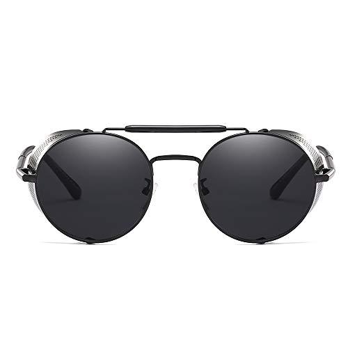 WJFDSGYG Runde Metall Sonnenbrille Steampunk Männer Frauen Mode Rot Gold Schwarz Schild Herren Shades Für Frauen Uv400