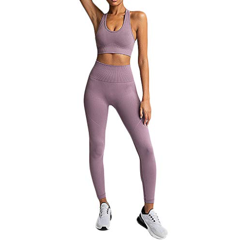 Weant Damen Yoga Kurz Leggings Slim Fit Fitnesshose Sporthosen High Waist Tops + Sport Hosen Elastische Yoga Leggings Kurz Hüfthose Stretch Workout Jogginghose Strumpfhose -