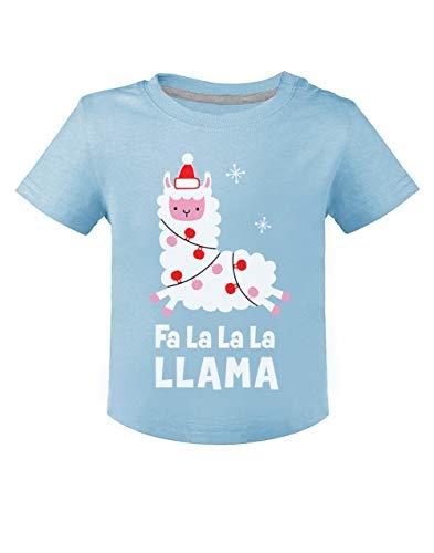 Green Turtle T-Shirts FA La La Llama Petit Lama de Noël T-Shirt Bébé Unisex 12M Bleu Ciel