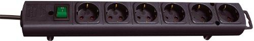 Brennenstuhl Comfort-Line, Steckdosenleiste 6-fach (mit Schalter und 2m Kabel - extra breite Abstände der Steckdosen) Farbe: schwarz