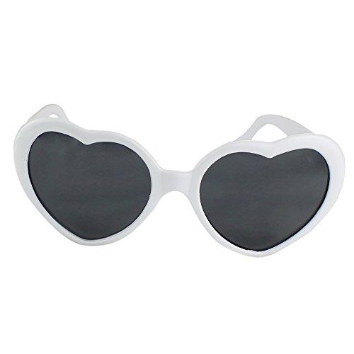 Unisex Herz Form Sonnenbrille Sonnenbrillen Sonnen Brille (Weiß)
