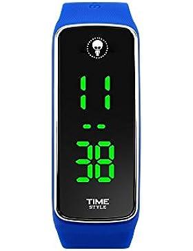 Time-Stil Innovative Blau Unisex LED-Uhr–Geschenk Box–1Jahr Garantie