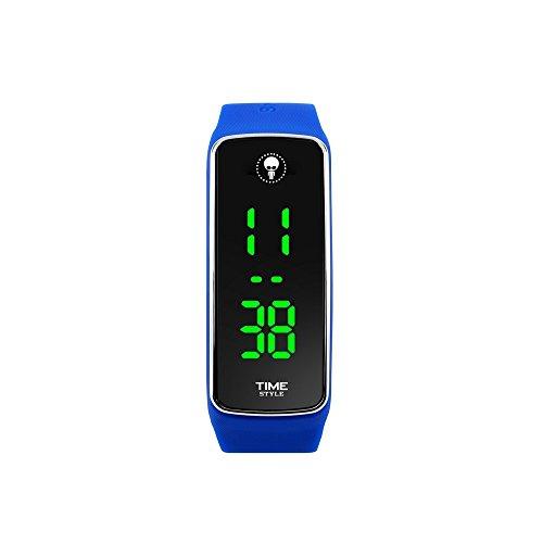 Time Style Blau LED-Uhr mit Digital grün klar Display–stilvoll Sport Fashion Design, 30m WR, Geschenk-Box + 1Jahr Garantie
