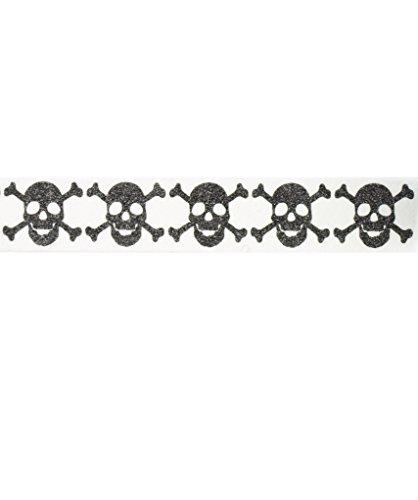 Skulls Washi Tape (1Rolle-9/40,6cm breit x 10,95Meter lang), Piraten Party, Gastgeschenken Halloween Washi Tape, Totenkopf Tape, schwarz Klebeband, Tape, Arztausstattung, Klebeband Produkte