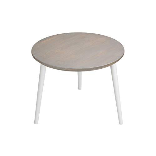 SemUp Table Basse Ronde en chêne Naturel Motif scandinave MegaraO, Grey Legs, 47 cm Height