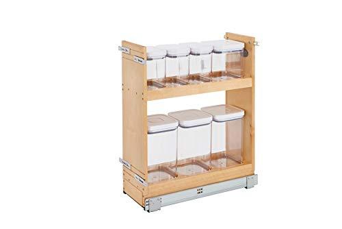 Rev-A-Shelf 448OXO-BCSC-8C, 20,3 cm Ausziehbarer Holzunterschrank OXO Organizer mit Absenkautomatik