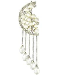 Aastha Jain Silver Pearl Cubic Zircon Brooch for Women