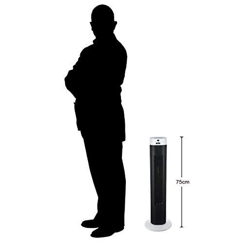 Oszillierender Turmventilator mit Fernsteuerung Säulenventilator 3-stufigem Windmodus mit 3 Drehzahlen und langem Kabel(1,75m). 30 Zoll Schwarz-weiß (Batterien NICHT im enthalten) 2 Jahre Garantie Bild 3*