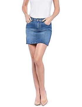OranJeans 0C422 Minifalda Vaquera De Mujer Elástica Con Tejido Tejano Reciclado con Adorno Lateral de Cinta de...