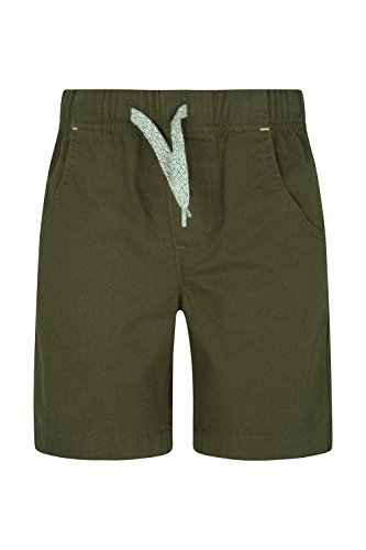 Mountain Warehouse Waterfall Kids Shorts - 100% Cotton Summer Shorts, Lightweight, Breathable Short Pants, Elastic Waistband Trousers -for Sports, Walking, Beach, Park Khaki 3-4 Years