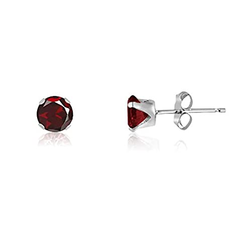 2MM Classic Brilliant Round Cut CZ Sterling Silver Stud Earrings - GARNET RED or Choose From 13 Colours. 2-GARN