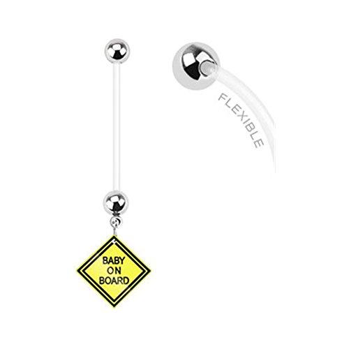 Button Belly Ringe Schwangerschaft (Lange Flexible Bioplast Schwangerschaft Bauch Ring mit Dangling