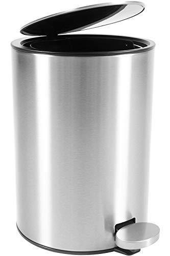 Bamodi Kosmetikeimer Edelstahl 3l - Badezimmer Mülleimer mit Softclose-System Zum Verlieben - Badeimer Absenkautomatik gebürstet - Bad (Badezimmer Mülleimer Mit Deckel)