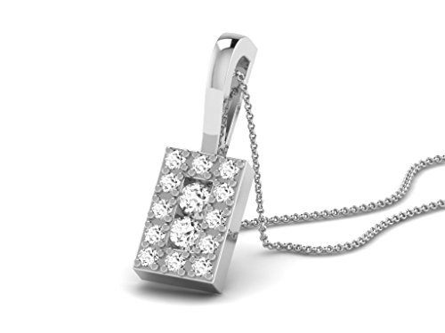 Or Blanc 9 ct Pendentifs Diamant en forme de Rectangle, 0.12 Ct Diamant, GH-SI, 0.64 grammes.