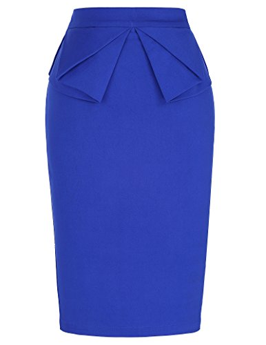 Sexy Slim Bodycon Skirt for Women Stretchy Waist Solid Blue (S) KL-3 CL454
