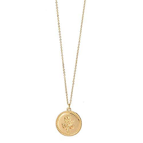 wonCacrostrans Frauen Halskette, Vintage Runde Anhänger Rose Muster dünne Kette Damen Schmuck Geburtstagsgeschenk Golden