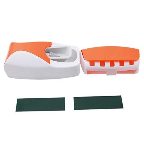 Orange Zahnbürstenhalter (Sperrins automatische Zahnpastaspender Wall Mount Zahnbürstenhalter Zahnpasta Squeezer, Orange)
