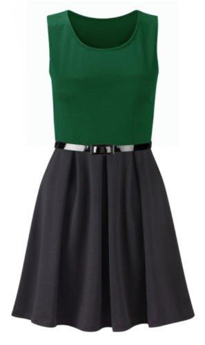 neuen Frauen plus size Farbe Block gedruckt Gürtel ausgestelltem Rock Kleid skater Green/Black