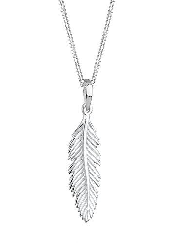 Elli Damen Schmuck Halskette Kette mit Anhänger Feder Boho Hippie Bohemian Beach Gypsy Silber 925 Länge 45 cm