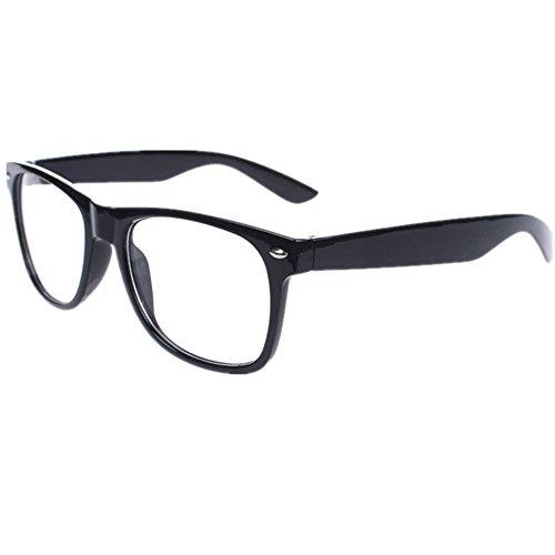 Vintage Retro Style Oversized Black Frame Nerd Geek Clear Lens Glasses Classic...