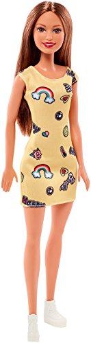 Barbie - trendy con abito - stampato con divertenti icone, colore giallo, fjf17