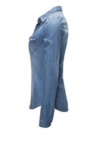 Only Damen Jeansbluse Jeanshemd Hemdbluse Langarmbluse Blau
