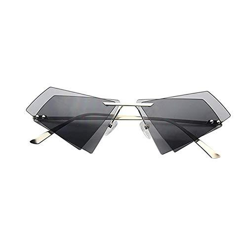 Schwarze Randlose Brillen (Drawihi Stilvolle Sonnenbrille Unregelmäßige Doppelschicht Dreieckige Polarisierte Sonnenbrillen UV400 Schutz Brille Unisex für Reise Sport im Freien (Schwarz))