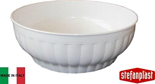Stefanplast Gerippter Salatschüssel, weiß, 30x 32x 30cm (Queens Kochen Geschirr)