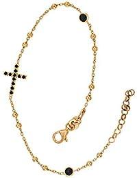 Padre Nostro - Bracelet de chapelet Argent 925 plaqué or en or Zircon noirs