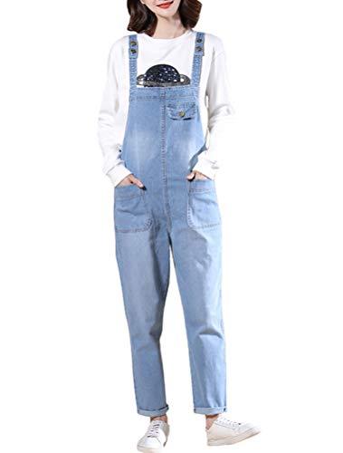 MatchLife Damen Breite Beine Hosen Loose Denim Jeans Jumpsuit Latzhose Overalls (Fits Größe 38-44, Style19-Hellblau) Denim-jumpsuit