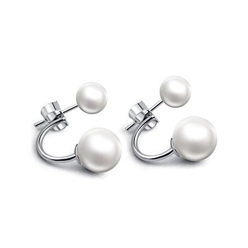 Demarkt Frente elegante de perlas cultivadas de agua dulce de plata de ley 925 Pendientes de botón Atrás