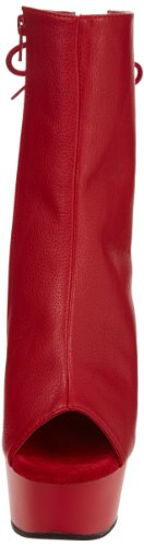 Pleaser Delight 1018, Bottes femme Red Faux Leather/Red