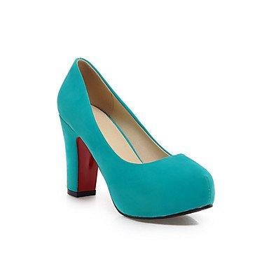 Shoeshaoge scarpa da donna in pelle nabuk primavera autunno tacchi comfort per casual ufficio & amp; mandorla blu verde rosso nero Green