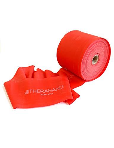 FTM Thera-Band® Rot Übungsband und Fitnessband LATEXFREI von der Rolle geschnitten, Meterware, Gymnastikbänder für Reha, Physiotherapie, Krankengymnastik für Allergiker (15 Meter)