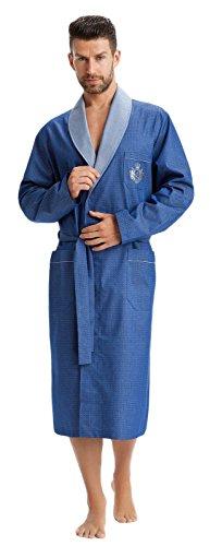 LEVERIE Edler und Hochwertiger Morgenmantel für Herren mit Elegantem Muster, blau mit Emb