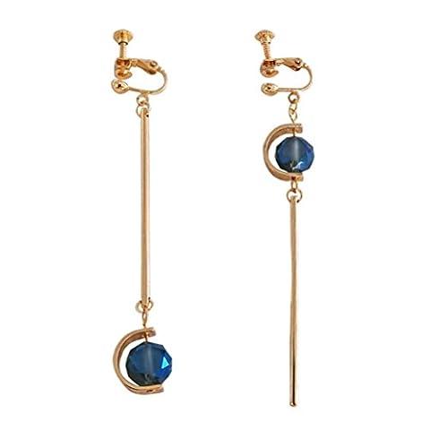 Ohrclips Clip on Ohrringe Ohr für No Piercing Drop Asymmetry Baumeln Lange Bead Goldton für (Bead Tropfen Baumeln Ohrringe)