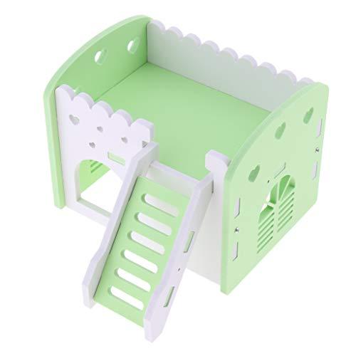Homyl Hamsterhaus Nagerhaus Holzhaus Villa Spielplatz Spielzeug für Hamster Ratten Chinchillas Meerschweinchen Frettchen Eichhörnchen - Grün