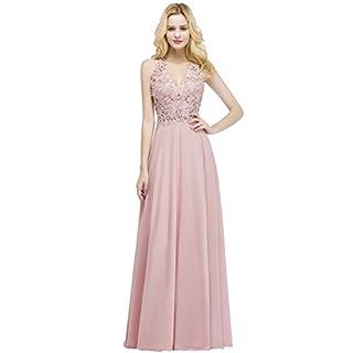 MisShow Damen Neckholder Abendkleid Lange Chiffon Hochzeit Brautjungfer  Kleid Abend Formal Prom Ballkleider Rosa Gr. 4687b4861f