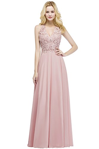 MisShow Damen Neckholder Abendkleid Lange Chiffon Hochzeit Brautjungfer Kleid Abend Formal Prom Ballkleider Rosa Gr.36 Formal Dress