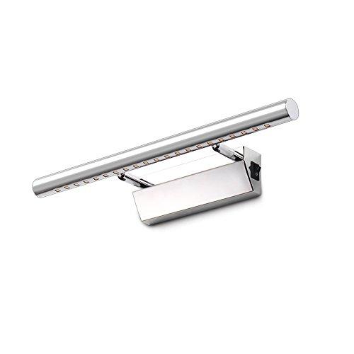 ELINKUME Spiegellampe Badlampe Badleuchte Spiegelleuchte Wandleuchte mit Schalter,180°Winkel-Einstellbar, Warmweiß 5W Edelstahl Led Badezimmerlampe für Bad Spiegel Leuchte, 40cm