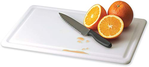 San Jamar CB121812GVWH Kolor-Cut Grooved Cutting Board, 30cm Width x 46cm Height x 1.3cm Depth, White Kolor-cut
