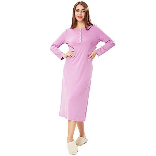 Bett Sleepshirt (ENIDMIL Nachthemden Damen - Nachtwäsche Baumwolle Sleepshirt Langarm Schlafshirt Nachtkleid (Hellviolett, S))
