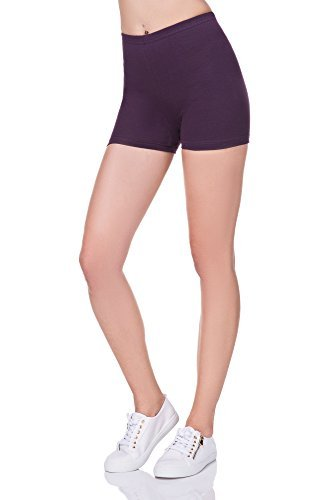 futuro fashion super weich Baumwollshorts elastischer Stretch Yoga Schlüpfer UK 8-22 PSL5 - Plum, 38 (Shorts Laufen Yoga)