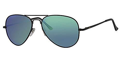 Eyewear World Polarisierte Aviator Sonnenbrille, gratis Beutel & Gelb Halskordel, Spiegelungen blockierende grün verspiegelte Gläser, Gelenkarme, Made in USA